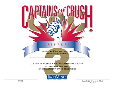 Certification on the Captains of Crush No. 3 gripper began in 1991, and quickly established itself as the single most respected accomplishment in the grip strength world—this weekend, at the Los Angeles FitExpo, worthy gripsters will have the chance to add their names to the official Captains of Crush No. 3 gripper certification list, which reads like Who's Who of the grip strength world.