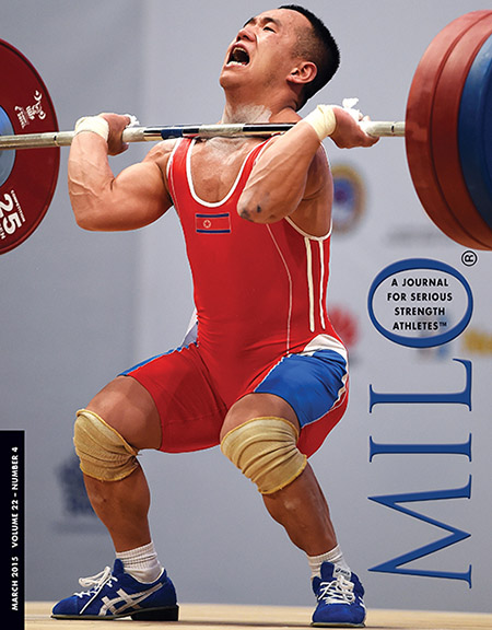 MILO 22-4 cover: North Korea's Om Yun Chol burst into the limelight when he won the gold medal at the 2012 London Olympics, a feat made even more memorable because he had lifted in the B session and his performance included a 168-kg clean and jerk, putting the 56-kg competitor into the super-elite club of triple bodyweight clean and jerkers. Next up for Om were the 2013 Asian Weightlifting Championships and the 2013 World Weightlifting Championships, both of which he won. Then in 2014, he won the Asian Games (with a performance that included a world record 170-kg clean and jerk) and a few weeks later, he made this do-or-die 168-kg clean and jerk to successfully defend his World Weightlifting Championships title. Not a bad couple of years for Om Yun Chol: five major contests and he won all of them.  Randall J. Strossen photo.