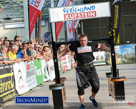 """""""Marius Lalas won his first Strongman Champions League in Austria. He finished first with the 400 kg (880 lb.) Yoke for 20m in 12.14 seconds."""" - Aryn Lockhart, reporting from the field. IronMind® 