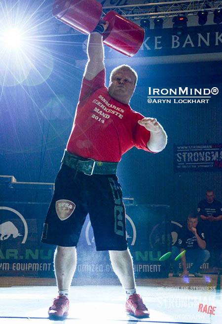 Mikkel Leicht completes eight reps with the 80-kg giant dumbbell to become the 2014 Denmark's Strongest Man. IronMind® | Photo courtesy of Aryn Lockhart