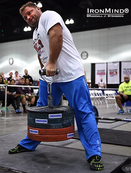 Russian grip strength standout Alexey Tyukalov made short work of the 2015 Visegrip Viking competition at the Los Angeles FitExpo yesterday—winning all four events with ease.  Alexey Tyukalov made 118 kg on the Rolling Thunder look like a warmup weight at Odd Haugen's grip strength contest at the Los Angeles FitExpo yesterday. IronMind® | Randall J. Strossen photo