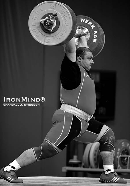 This is how close Bahador Moulaei (Iran) came to making a 261-kg clean and jerk at the 2013 World Weightlifting Championships. IronMind® | Randall J. Strossen photo