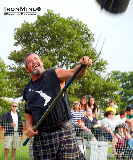 Highland Games masters' competitor Bradie Miller turned in an outstanding performance at the Dublin Irish Festival, including a world record in the 16-lb. sheaf toss.  IronMind® | Photo courtesy of Francis Brebner