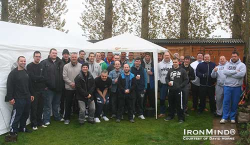 Poor weather was no challenge for the group gathered at David Horne's British Grip Championships and arm wrestling supermatch in Stafford, England.  IronMind® | Photo courtesy of David Horne.