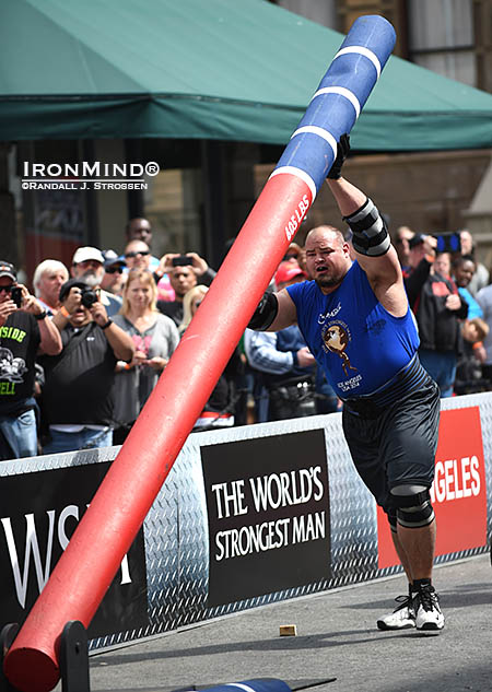 Brian Shaw on the Fingal's Fingers at the 2014 World's Strongest Man (WSM) contest. IronMind® | Randall J. Strossen photo