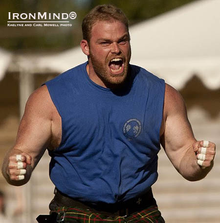 An exultant Dan McKim celebrates another Highland Games victory as he added the Longs Peak title to his collection of victories in 2014. IronMind® | Kaelyne and Carl Mowell photo