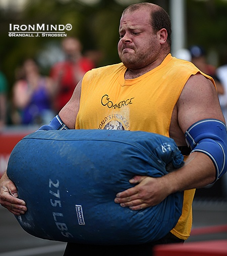 David Ostlund, shown competing in last year's World's Strongest Man contest, will be at the Los Angeles FitExpo this weekend, competing in the All-American Strongman contest. IronMind® | Randall J. Strossen photo