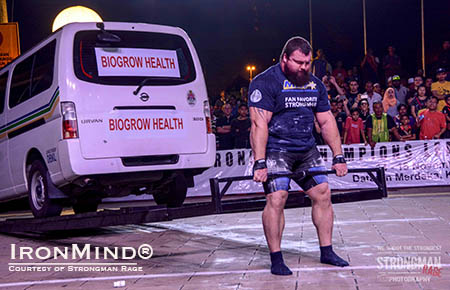 Eddie Hall on the Car Deadlift for reps at the MHP Strongman Champions League finals yesterday. IronMind® | Photo courtesy of Aryn Lockhart/Strongman Rage