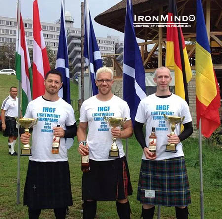 Here's the podium from the 2014 IHGF European Lightweight Championships: L., Stefan Dumitrica (second place); c., Torsten Hülsemann (first place); and r., Lukas Prettenthaler (third place). IronMind® | Photo courtesy of Torsten Hülsemann