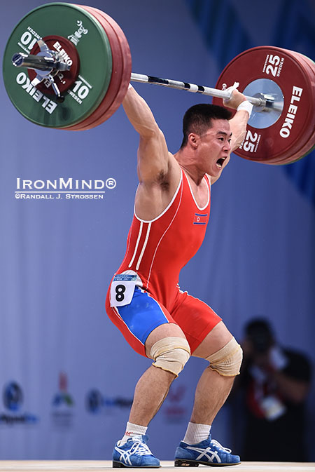 62-kg competitor Kim Un Guk's first attempt (145 kg) was good enough for the