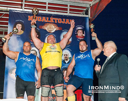 Here's the podium from this weekend's strongman competition in Marijampole, Lithuania, along with mayor, Vidmantas Brazys. IronMind® | Photo courtesy of Kazimieras Linkevičius