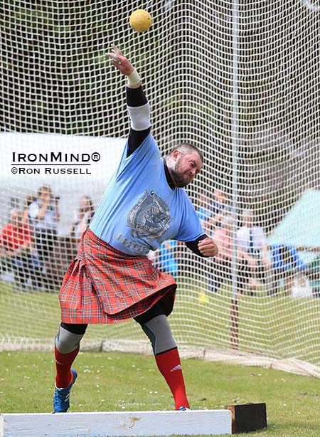 Lukasz Wenta launches another big time put at the Markinch Highland Games.  IronMind® | Photo courtesy of Ron Russell