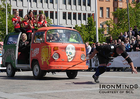 Rauno Heinla (Finland) on the Mini-Bus Pull.  Heinla is in second place after the first day of the MHP Strongman Champions League (SCL) Finland.  IronMind® | Photo courtesy of SCL