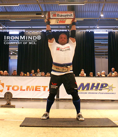 Rauno Heinla on the Block, part of the Overhead Medley at SCL Lithuania/Savickas Classic this weekend, where Heinla got his first Strongman Champions League victory. IronMindr | Photo courtesy of SCL