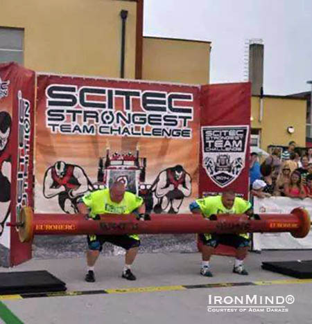 Team Poland on the Log Lift at the SCITEC European Strongest Team contest in Cakovec, Croatia. IronMind® | Photo courtesy of Adam Darazs