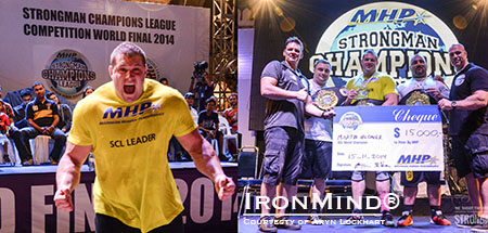 Martin Wildauer just learns that he is the MHP  2014 Strongman Champions League World Champion. IronMind® | Aryn Lockhart photo