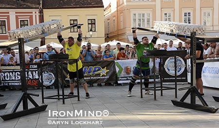 Martin Wildaur (left) and Krzystof Radzikowski (right) go head to head in the final event, 160kg Viking Press, to decide the SCL Hungary winner. IronMind® | Aryn Lockart photo