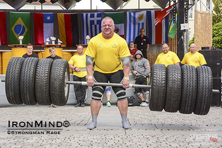 Michael Zitzelsberger deadlifts 320kg winning the first German Master's Championship qualifying him for the World Championship in Belfast, Ireland 24 August 14. IronMind® | Photo courtesy of Aryn Lockhart/Strongman Rage