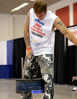 At the 2012 IronMind Record Breakers (held by Odd Haugen at the San Jose FitExpo), Adam Glass hauled up 100 kg to win the Little Big Horn, and as nobody has since exceeded Adam's mark, what was then taken as an American record has burgeoned into no less than the de facto world record. Randall J. Strossen photo Reprinted with permission from the 2014 (Volume 23) IronMind catalog