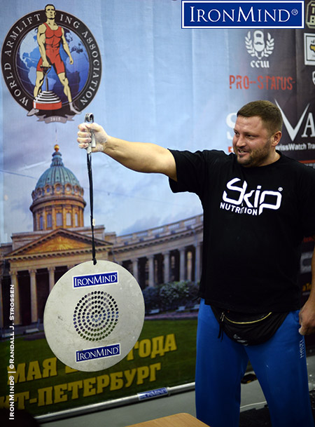 Alexey Tyukalov is a former world record holder on the CoC Silver Bullet and he won the event in St. Petersburg with a time of 46.65 seconds. IronMind® | ©Randall J. Strossen photo