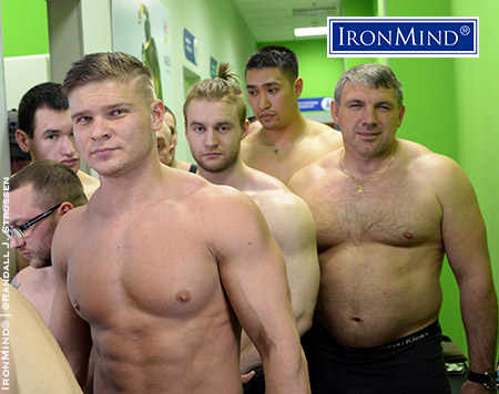 Here's a shot of the weigh-ins and that's Aleksandr Kirrilov (aka The Bending Machine) on the far right. As a gift to me, Kirrilov took an IronMind Gold Nail, cut a little less than an inch off the end and, using leather pads, bent it in into a complete u-shape. IronMind® | ©Randall J. Strossen photo