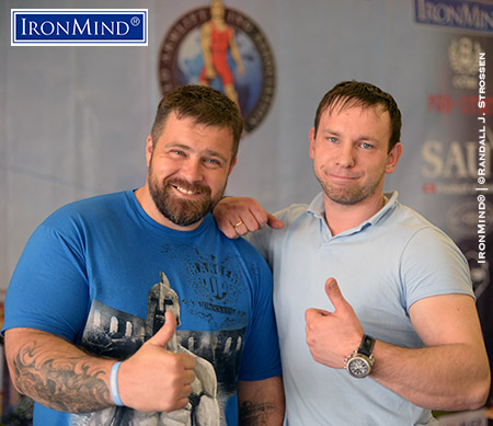 Andrey Sharkov (left) and Dmitriy Suhovara (right) organized, ran and competed in 2015 WAA Armlifting World Championships and IronMind would like to make special mention of how impressive Sharkov was in terms of training the referees and following the letter and spirit of the rules for all the IronMind events. IronMind® | ©Randall J. Strossen photo