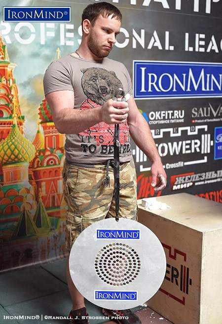 Dmitriy Suhovara proved to be a tough competitor, as well as an indefatigible, organizer: he racked up a very impressive time of 43.44 seconds on the CoC Silver Bullet hold. IronMind® | ©Randall J. Strossen photo