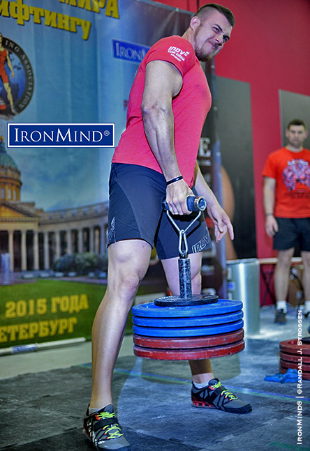 The Rolling Thunder is where armlifting began—it's recognized worldwide and will quickly sort the wheat from the chaff when it comes to grip strength. Roman Penkovsky pulled 118 kg to win the 110-kg class and beat world record holder Alexey Tyukalov (the current world record holder on the event) on body weight. IronMind® | ©Randall J. Strossen photo