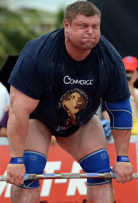 Zydrunas Savickas at the 2013 World's Strongest Man contest. Randall Strossen photo.