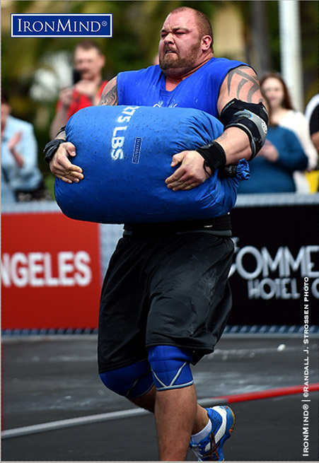 Hafthor Julius Bjornsson in flight with an IronMind sandbag at World's Srongest Man 2014. Randall Strossen photo.