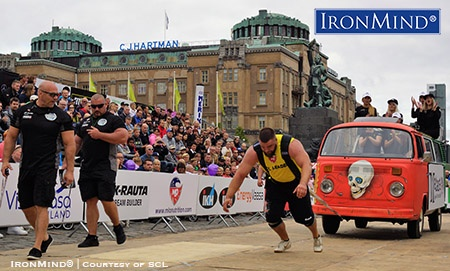 Aivars Smaukstelis, winner of SCL Latvia and SCL Serbia, on the Mini Bus Pull at SCL Finland. IronMind® | Photo courtesy of SCL