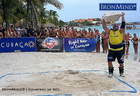 Dainis Zageris on the Rock Lift at SCL Curacao. IronMind® | Image courtesy of SCL