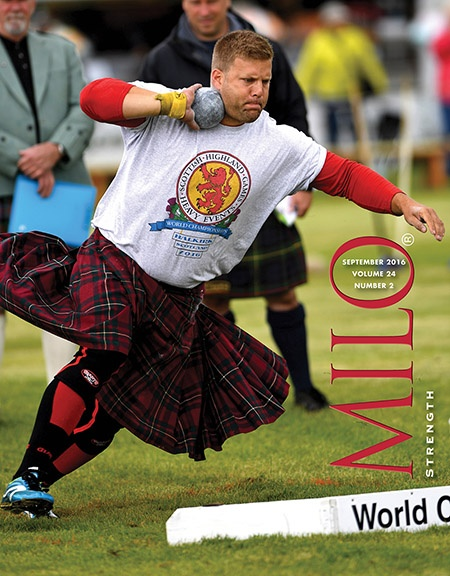 Scott Rider has competed in the Olympics and the Commonwealth Games, along with the world's top Highland Games contests: as we were going to press with the September issue of MILO, Rider had just added to his considerable athletic laurels by handily winning the 2016 David Webster Heavy Events World Championships in Halkirk, Scotland, where he led the top-drawer field from start to finish. ©Randall J. Strossen photo