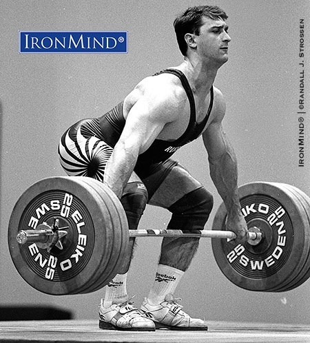 Maxim Agapitov snatching 175 kg on his way to winning the 91-kg class at the 1997 World Weightlifting Championships. Agapitov is the new president of the Russian Weightlifting Federation. IronMind® | ©Randall J. Strossen photo
