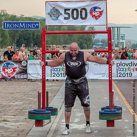 Stoyan Todorchov broke the world record in the Yoke at MLO Strongman Champions League Bulgaria. This was one of three world records set by the Bulgarian strongman, who also won the overall contest. IronMind® | Image courtesy of MLO Strongman Champions League