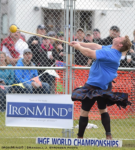 Winning the heavy hammer on day two, just as he had the light hammer the day before, helped Dan McKim capture his fourth IHGF World Highland Games Championships. IronMind® | Randall J. Strossen photo