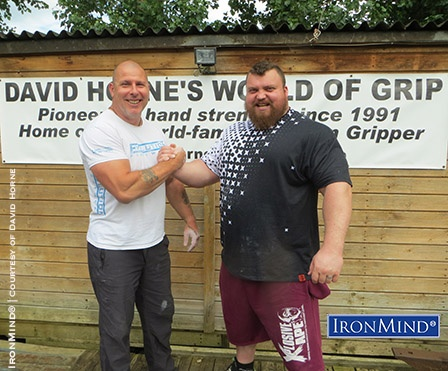 """Quick picture from yesterday's visit from Eddie,"" GripWorld's David Horne (left) told IronMind today. Eddie Hall (right) is a powerhouse who wants to  win this year's World's Strongest Man contest, and in the run-up to the contest, he's focussing on his grip, with help from David Horne, a leading expert and competitor in the world of grip strength. IronMind® 