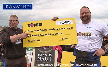 Hafthor Julius Bjornsson won US$800 special prize in the deadlift at the 2016 Iceland's Strongest Man contest. IronMind® | Photo courtesy of Hjalti Arnason