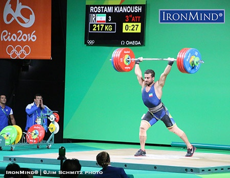 He missed his opener, 215 kg, but when it really counted, Kianoush Rostami (Iran) made this third attempt 217-kg lift, to win the gold medal in the men's 85-kg class of weightlifting at the Rio Olympics. IronMind® | ©Jim Schmitz photo