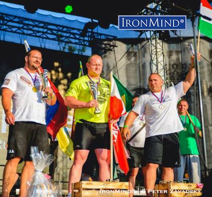 Here's the podium from the Nestville World Cup strongman competition in Slovakia: Igor Petrik (left), Rafal Kobylarz (center) and Akos Nagy (right). IronMind® | ©