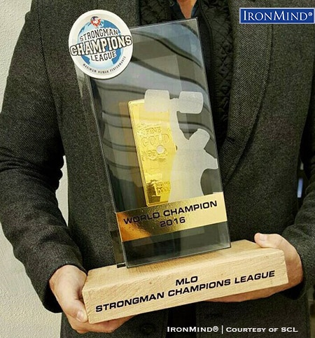 Trophy for the 2016 MLO Strongman Champions League World Championships. IronMind® | Courtesy of SCL