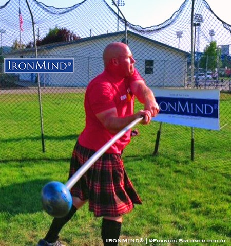 Added to his haul at the Spokane Highland Games, Scott Chisholm won the 2016 IHGF All-American Hammer Throwing Championships title. IronMind® | ©Francis Brebner photo