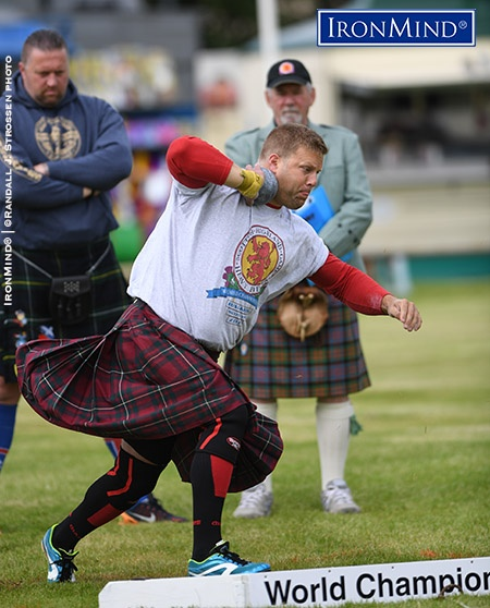 England's Scott Rider got off to a roaring start at David Webster's Highland Games World Championships, winning the first two events, and he never looked back—handily beating the top flight field of heavies hosted by the Halkirk Highland Games. IronMind® | ©Randall J. Strossen photo