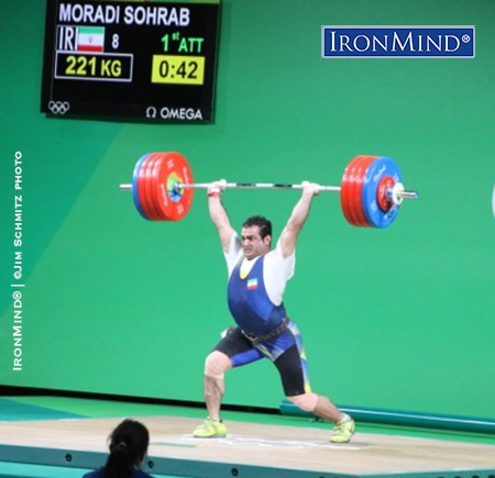 Sahrab Moradi (Iran) only needed this first attempt clean and jerk (221 kg) to win the gold medal in the men's 94-kg class in weightlifting at the Rio Olympics. IronMind® | ©Jim Schmitz photo