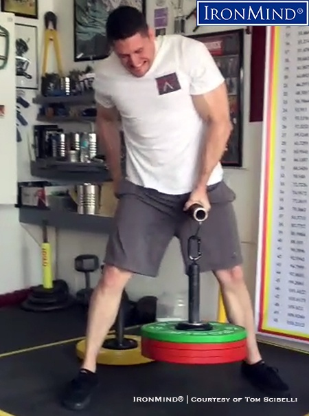 Tom Scibelli pulls 90 kg on the Rolling Thunder, one of three elements in the the Crushed-to-Dust! Challenge, a test of all-around grip strength. IronMind® | Image courtesy of Tom Scibelli