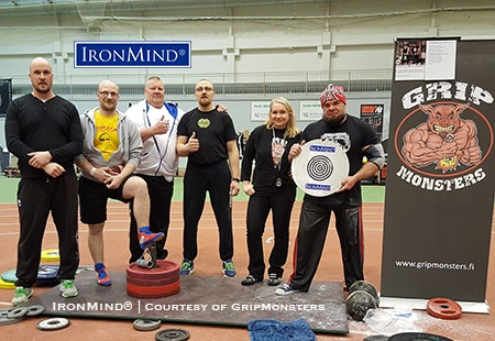 The 2017 Finnish Rolling Thunder National Championships produced notable performances on both the Rolling Thunder and the CoC Silver Bullet Hold. Left to right: Tomi Tuomi, Jouni Mähönen, Arto Joronen, Harri Tolonen, contest referee Yvonne Häkkinen/GripMonsters, Juha Harju. IronMind® | Photo courtesy GripMonsters