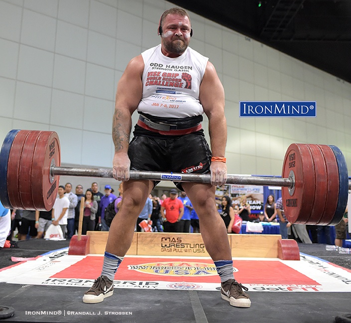 Andrei Sharkov came to California from Crimea to compete in the Odd Haugen grip contest at the Los Angeles FitExpo—Sharkov pulled this 210-kg lift to win the IronMind Apollon's Axle, a venerated event in the grip strength world. IronMind® | ©Randall J. Strossen photo