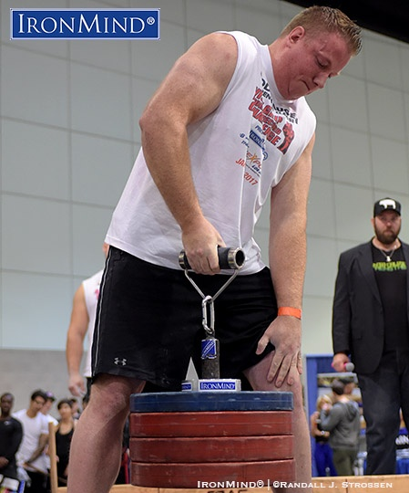 "6' 8"" tall and 298 lb. Bryan Hunsaker made short work of 100 kg on the Rolling Thunder, while competing in the Visegrip Viking Armlifting Championships at the Los Angeles FitExpo. If that weren't enough for Hunsaker, he also sailed though the Crushed-To-Dust! Challenge at the IronMind booth. IronMind® 
