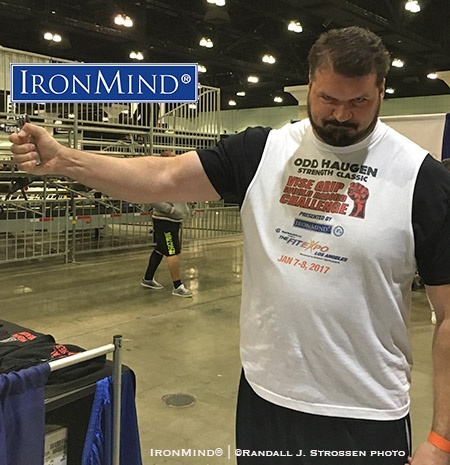 "Nicknamed The Blackpool Tower, 6' 10"" 340-lb. Carl Myerscough set a high standard during his debut in the grip strength world: how about certifying on the Captains of Crush No. 3 gripper after two days of competition, and after he'd already closed the No. 3 not once, but twice? IronMind® 