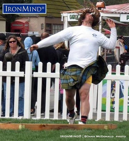 Colin Dunbar, shown on the light weight for distance, dominated the Amateur A field at the Queen Mary Highland Games and looks to have a bright future as a Highland Games pro. IronMind® | ©Dana McDonald photo